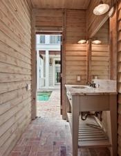 Poolside Bathroom in Luxury Home